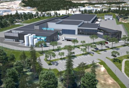 TINE: Det nye anlegget til Tine vil være cirka 18.000 kvadratmeter stort, og tomten utgjør 73 dekar. (Illustrasjon: Sweco)
